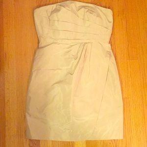 J.Crew Champagne Strapless Silk Dress